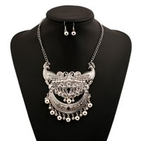 Wholesale Metal Peacock Necklace - New Design Metal Peacock Flower Ball Tassel Necklace Earring Set Retro Silver Beads Crescent Jewelry Set Lots 6 Sets