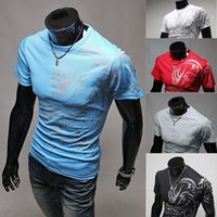 Wholesale Men S Shirt Tattoo - Wholesale- Hot Strong Men's Fashion Summer Tattoos Printed Cotton Short Sleeve Crew Neck Tees T-Shirt Slim Tops 5JF5 7FMS BDQJ