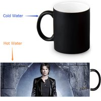 Envío libre al por mayor 12 OZ / 350 ml The Vampire Diaries taza sensible al calor cambio de color Ceramice Morphing Tazas