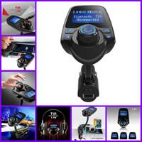 kit amplificador bluetooth al por mayor-Bluetooth Car Kit Manos libres Transmisor FM Reproductor de música MP3 5V 2.1A Cargador de coche USB con pantalla LED azul para Iphone Samsung