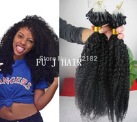 Wholesale Deep Curly Micro Loop - Best Grade 6A Unprocessed Brazilian Afro Kinky Curly Virgin Human Hair Natural Black Micro Rings Loop Kinky Hair 100g