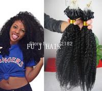 meilleurs cheveux humains afro crépus achat en gros de-Meilleur Grade 6A Non Transformés Brésiliens Afro Crépus Bouclés Vierges Humains Naturels Noir Micro Anneaux Boucle Crépus Cheveux 100g