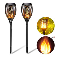 Wholesale patio decor - Solar Torch Lights Outdoor IP65 Flicker Flame Light Landscape Decor Dusk to Dawn Security Path Lights for Garden Patio Deck Yard Driveway