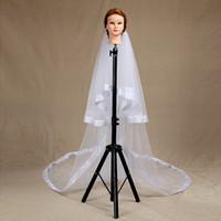 Wholesale muslim mantilla veil for sale - Group buy New Fashion Designer Best Sale Romantic Cathedral White IvoryRibbon Edge Veil Mantilla Veil Bridal Head Pieces