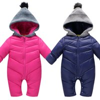 Wholesale Organic Child Hat - 0-2 Year Infant Children Winter Cotton Down Romper Solid Color Full Sleeve Outerwear Hooded Knitted hat Boys Girls Baby Down Jacket MDC001