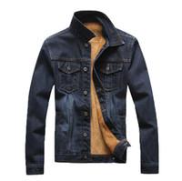 diseño de chaqueta de jeans para hombres al por mayor-Abrigos de lana gruesos de invierno Hombres Vintage Jean Chaquetas abrigadas Abrigo de diseño con botones de botonadura Ropa de abrigo de otoño