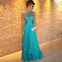Wholesale Evening Fully Beaded - Chiffon Long Turquoise Dresses Floor Length A-line Fully Beaded Top Sheer Neck Formal Evening Gowns Dresses for Women
