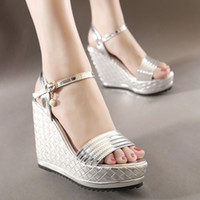 Wholesale Silver Bridal Shoes Wedges - Elegant Woven Knitted Silver Wedding Shoes Bridal Platform Wedges Sandals 12cm Size 34 To 39