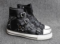 Wholesale Western Cotton Top - Ash Studded Buckle Star Rivets Side Zipper Sneakers Black High-top Genuine Leather Fashion Trainers On Hot Sale Flat Heel Tide Sport Shoes
