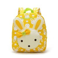 Venda Por Atacado Lovely Cute Kids School Bags Rabbit Bear Dolls Applique Canvas Backpack Mini Baby Toddler Book Bag Mochilas de jardim de infância