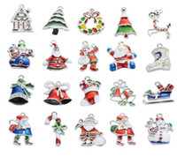 Wholesale Enamel Charm Christmas Mixed - New Christmas Wholesale lots 20PcsXSilver-tone Mix Unique Enamel Christmas Charms Pendants EKmix1 jewelry making findings DIY