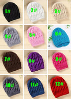 Wholesale White Ski Hats Womens - 2016 Unisex Lady Womens Mens Knit Baggy Beanie Crochet Beret Hat Ski Cap Hemp flowers Hat Winter warm cap 12 Colors 20pcs lot