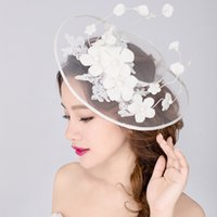 Wholesale Lady Elegant Hair - 2016 New Luxury Bridal Hat Fascinator Handmade Gauze Lace Flower Pearls Vintage Lady Elegant Hair Headdress Wedding Accessories