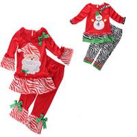 Wholesale Girl Set Pants Stripes - kids christmas sleepwear children clothing boys suits girls cotton snowman stripe XMAS Shirt Tops + Pants Pajamas santas Set helper Outfits