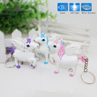 Wholesale Toy Car Keyrings Wholesale - New unicorn LED Keyring with sound Children Toys Christmas gift lovely cartoon animal Led keychain bag car pendant Q0181