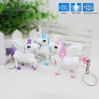 Wholesale Car Toy Sound - New unicorn LED Keyring with sound Children Toys Christmas gift lovely cartoon animal Led keychain bag car pendant Q0181
