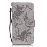 Wholesale Stand Hold Case - Embossed butterfly flower Leather Wallet Case For Iphone 7 6 plus Samsung S6 S7 Edge LG kickstand Stand Hold hand strap