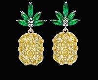 Wholesale Diamond Jewelery - 2017 Tropical Fruit New Pineapple Stud Earrings Full diamond pineapple earrings 925 sterling silver needles earrings Christmas jewelery L342