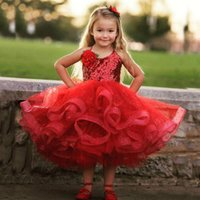 Wholesale Halter Top Flower Girl Dresses - Lovely Girls Pageant Dresses 2017 Puffy Red Girl's Formal Gowns Halter Neck Sleeveless Bling Bling Sequins Top Kids Wear Handmade Flowers