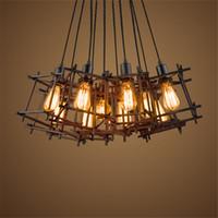 Wholesale Industrial Cage Edison Lighting - American Loft Vintage pendant light Personality Wrought Iron lights Edison nordic lamp industrial cage lamp lighting fixtures