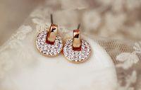 Wholesale Most Stud Earrings - Korea's creative stud earrings The most popular girl jewelry earring round coin with the circle CZ diamond earrings fashion hoop earrings
