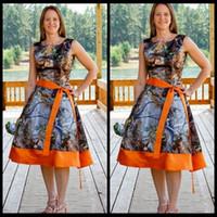Wholesale Tea Length Maternity Bridesmaid Dress - 2016 Scoop Neck Camo Tea Length Prom Dresses Ribbon Orange Camouflage Top Sale Plus Size Formal Party Bridesmaid Short Dress Cheap