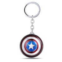 Wholesale Avengers Jewelry - MS Jewelry The Avengers Captain America Key Chain Rotatable Shield Key Rings For Gift Chaveiro Car Keychain Key Holder Souvenir