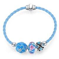 Wholesale European Lovely Beads Charm Bracelet - Lovely Pink Blue Leather Bracelet European Beads Murano Glass Charms Bracelet 37cm Length Bangle Bracelets For Women Free Shipping