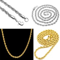 Wholesale Thick Mens Gold - Mens Gold Plated Hip Hop Necklace 18k Gold Plated 6mm Thick Rope Chain Twist Chain Gold Silver Necklace Fashion Jewelry Whosales