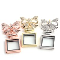 Wholesale Wholesale Crystal Perfume Bottle Necklace - 3 colors Bowknot Square perfume bottle glass Memory Floating Charm Locket Alloy + Crystal Rhinestone Pendant Necklace DIY Jewelry