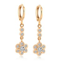 Luxo Multi-color Crystal Party Clip Earrings Long Flower Shape Real 18K ouro amarelo banhado a moda Brand New Jewelry For Women