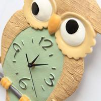 Wholesale Owl Modern Wall Clock - 2016 Modern Design Owl 3d Wall Clock Fashion Diy Living Room Bedroom Mute Clock Resin Saat Unique Personality Reloj