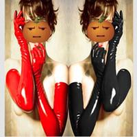 костюмы кожаные перчатки оптовых-Оптовая продажа-Бесплатная доставка длинные перчатки 2 цвета сексуальные перчатки женские взрослых мокрый вид латекс ПВХ кожа фетиш костюм аксессуар