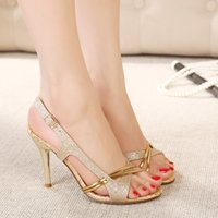 Wholesale Cheap Strap Sandal Heels - New fashion high heels sandals gold shoes dress shoes 7CM sexy wedding shoes cheap glitter shoes