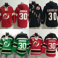 Wholesale cheap xxl hoodies - Hot Sale Mens New Jersey Devils 30 Martin Brodeur Embroidery Logos Best Quality Cheap Ice Hockey Hoodies Accept Mix Order Size S-3XL