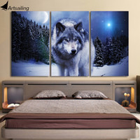 Wholesale Moon Painted Wall - 3 Pieces Canvas Art Paintings Printed Snow Wolf Moon Wall Art Print Canvas Paintings Home Decor For Living Room CU-1326C