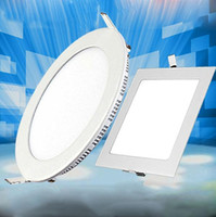 Wholesale 3w Warm White Ceiling - Ultra Thin LED Ceiling Recessed Panel Light Downlight Round Square 3W 9W 12W 18W Indoor lighting AC85-265V CE UL