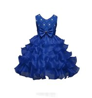 Wholesale Ancient Blue Beads - Pageant Dresses For Girls Sleeveless Flower Girl Dresses mazarine return to the ancients Kids Ball Gowns Wedding Dress custom style
