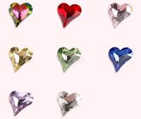 Wholesale Cheap Nail Jewelry - F442 Nail drill jewelry 10Pcs bag Crooked heart peach heart Shiny rhinestones Type diamond Nail Art ornaments Decoration Cheap