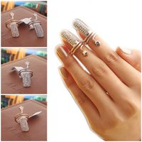 Wholesale Gold Finger Tip Nail Ring - Fashion Retro Crystal Rhinestone Nail Rings Plum Snake Gold Silver Flower Design Finger Tip Rings 2 Style Valentine'S Gift D842L