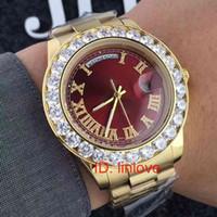 ingrosso grandi orologi a lunetta-41mm marchio di lusso in oro 18 carati Presidente Day-Date grande orologio da uomo in acciaio inossidabile con diamanti quadrante con diamanti automatici da polso orologi AAA