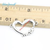 Wholesale Love Connector Silver - 10ps Antique Silver Plated Love Heart Connectors Pendant Making Findings Accessories DIY Handmade Craft 19x31mm