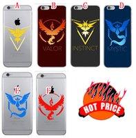 Wholesale Team Phone Cases - Pikachu Poke Go Soft TPU Case For Iphone SE 5 5S 6 6S Plus Transparent Team Valor Team Mystic Team Instinct Clear Phone Skin Cover 100pcs
