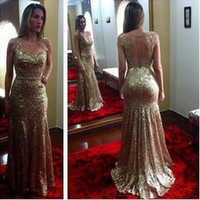 Wholesale Sheer Halter Bridesmaid Dress - Bling Bling Evening Prom Dresses 2016 Sequined Gold Formal Sheer Neck Mermaid Prom Gown Celebrity Party Gowns Bridesmaid Gowns