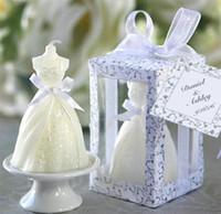 bebek mavisi mumları toptan satış-2016 Yeni Romantik Beyaz Gelin Gelinlik Şekil Mum Bougie Düğün Dekor Mum Mum Kokulu Mumlar Parti Düğün Malzemeleri