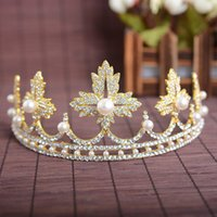 Wholesale Crowns Tiara S - Exquisite Wedding Bridal Hair Accessories Pearl Crowns Alloy Headbands Gold  Silver Tone Tiaras Leaf Crown Women 'S Hair Jewelry