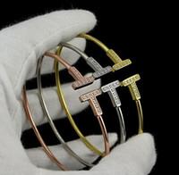Wholesale Titanium Fishing Hooks - Lovers Jewerly Titanium Steel Bracelet Explosion Double T Lady Gems Bracelet 18K Opening Full Zircon Love Bracelet Lovers