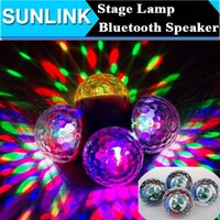 Wholesale Disco Speakers - 2016 Portable Wireless Bluetooth Mini Speaker 3W LED Light Ball Christmas Party Stage Light Disco Lamp Magic Support TF Card FM Radio