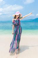 Wholesale Dresses Summer Sea - Condole belt off-the-shoulder goddess of sea beach dress summer chiffon falbala Bohemian dress dress for a holiday