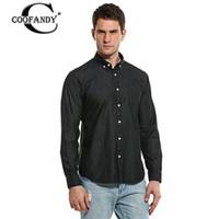 Wholesale Men Office Shirts - Wholesale- COOFANDY Brand Men Denim Shirt 2017 New Top Quality Casual Long Sleeve Button Down Denim Office Business Men Jeans Shirt US Size